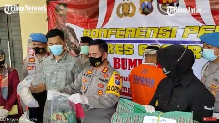Kapolres Ponorogo AKBP Mochamad Nur Azis menunjukkan barang bukti dalam kasus pemerkosaan oleh Suwanto (45) terhadap anak tirinya, HC, Kamis (12/11/2020).