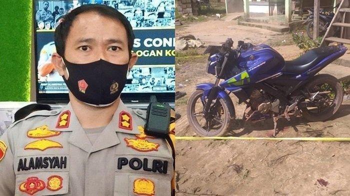 Kapolres OKI, AKBP Alamsyah Pelupessy dan sepeda motor yang menjadi barang bukti penganiayaan anak oleh ayah kandung di Tulung Selapan OKI, Sabtu (15/5/2021) sekitar jam 11.00 Wib.