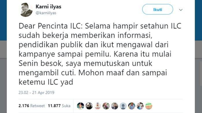 Karni Ilyas juga mengucapkan permintaan maaf soal alasan tidak tayangnya program ILC di masa cuti pasca-pemilu.