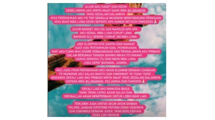 Kartika Putri mengunggah permohonan maaf pada Luna Maya, Kamis (10/6/2021).