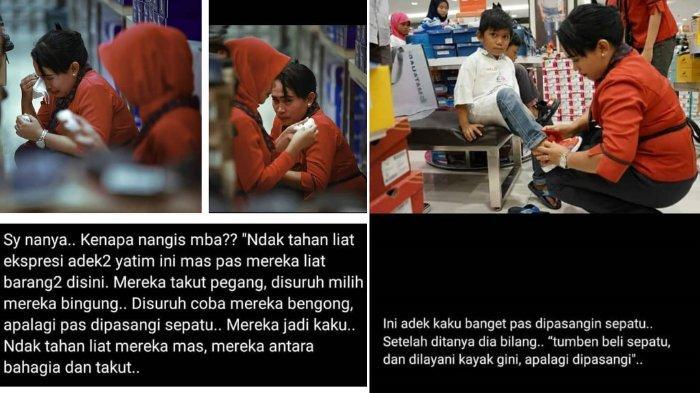 Karyawan toko yang menangis saat melihat ekpresi para anak yatim berbelanja pakaian di Mall Epicentrum di Mataram, Lombok.