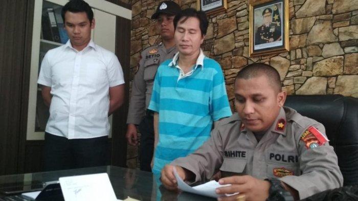Kapolsek Nongsa Kompol Albet Sihite hadirkan Pelaku pemerasan Istri pengusaha asal Batam, Foto Bugil Istri Pengusaha Jadi Senjata pemerasan selama ini