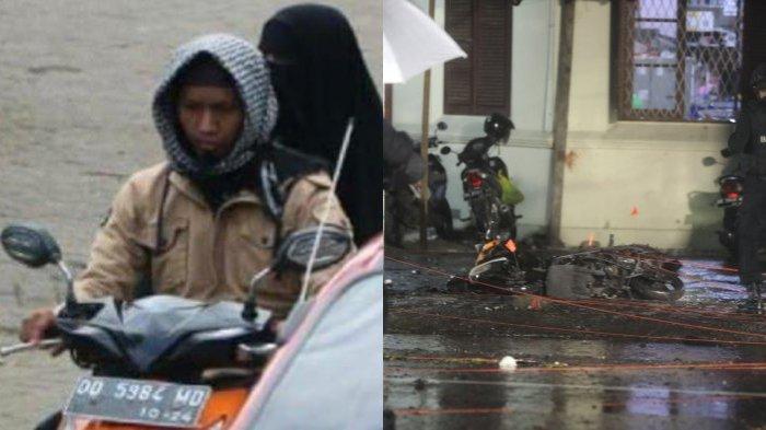 Lokasi dan kendaraan roda dua yang digunakan 2 pelaku (kiri) bom bunuh diri di depan pagar Gereja Katedral, Jalan Kajaolalido, Kecamatan Ujung Pandang, Kota Makassar, Sulawesi Selatan, Minggu (28/3/2021) malam.
