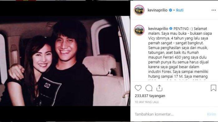 Kejujuran Kevin Aprilio soal kebangkrutan hingga terlilit utang Rp 17 miliar, dalam Instagramnya @kevinaprilio, Rabu (19/6/2019).