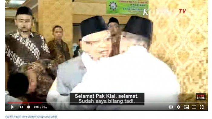 Ketua Umum Partai Amanat Nasional (PAN) Zulkifli Hasan memberikan ucapan selamat kepada calon wakil presiden nomor urut 01, Ma'ruf Amin.