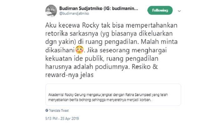 Kicauan Budiman Sudjatmiko untuk Rocky Gerung, Selasa (23/4/2019).