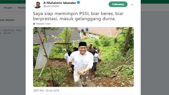 Kicauan Cak Imin akui siap jadi Ketua Umum PSSI