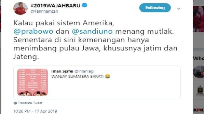 Kicauan Fahri Hamzah soal kemenangan Prabowo, Kamis (18/4/2019)