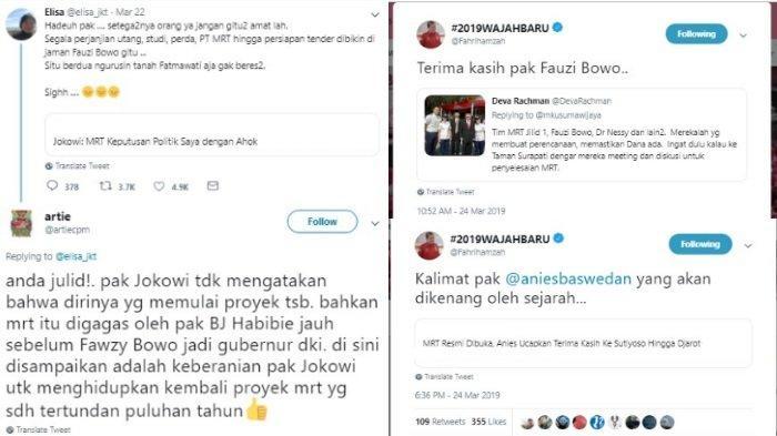 Kicauan Fahri Hamzah soal MRT, Minggu (24/3/2019)