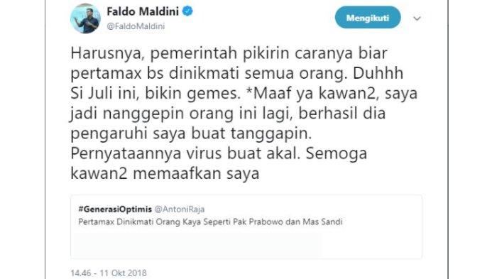 Kicauan Faldo Maldini, Kamis (11/10/2018).