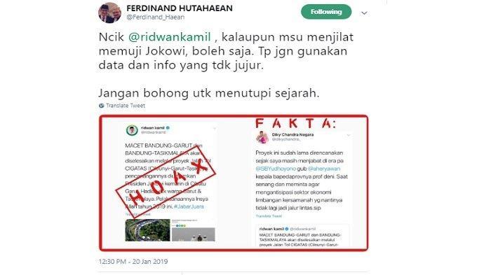 Kicauan Ferdinand Hutahaean tanggapi Ridwan Kamil