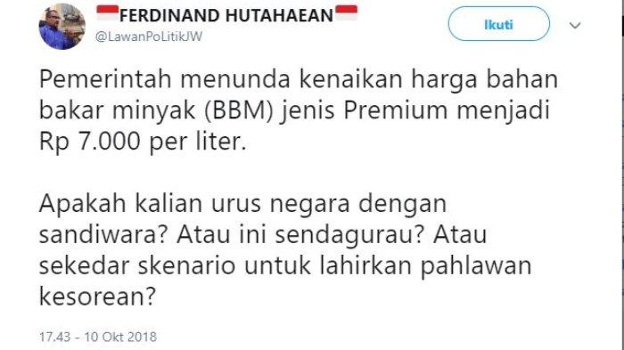 Kicauan Kadiv Advokasi dan Bantuan Hukum DPP Partai Demokrat Ferdinand Hutahaean, Rabu (10/10/2018).
