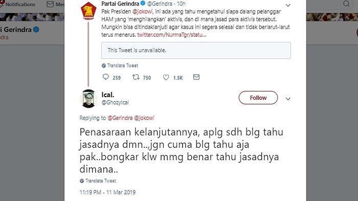 Kicauan Gerindra jawab isu penculikan, Senin (11/3/2019)