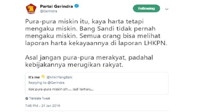 Kicauan Gerindra tanggapi Sandi yang disebut pura-pura miskin