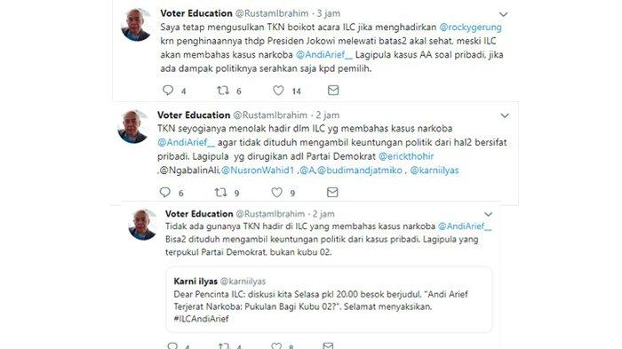 Kicauan Rustam Ibrahim, Senin (4/3/2019).