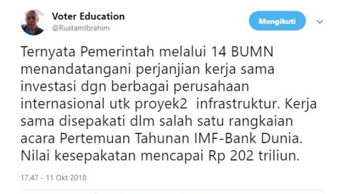 Kicauan Rustam Ibrahim, Kamis (11/10/2018).