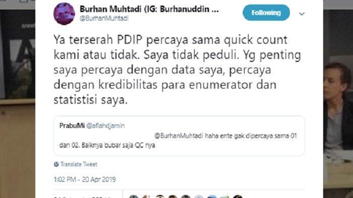 Kicuan Burhanuddin Muhtadi saat lembaganya diminta mundur, Sabtu (20/4/2019)