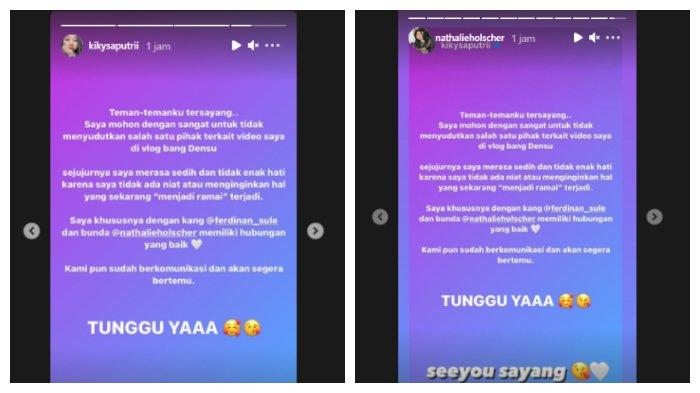 Tangkapan layar Kiky Saputri mengunggah tulisan di instastory dan di repost oleh Nathalie Holscher