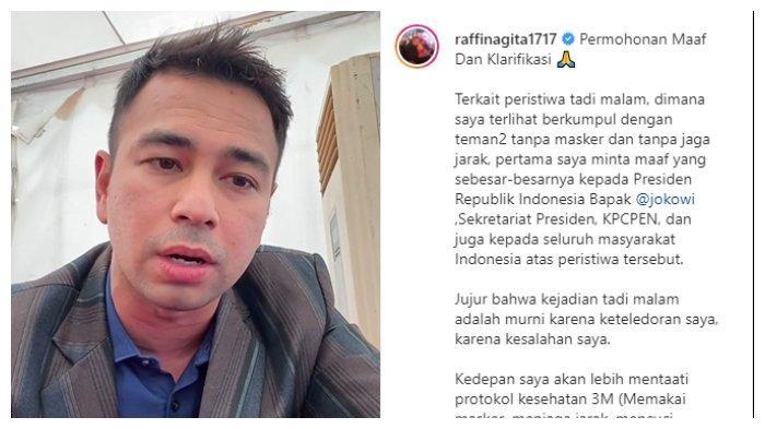 Klarifikasi Raffi Ahmad soal berkerumun tanpa masker, Kamis (17/1/2021).