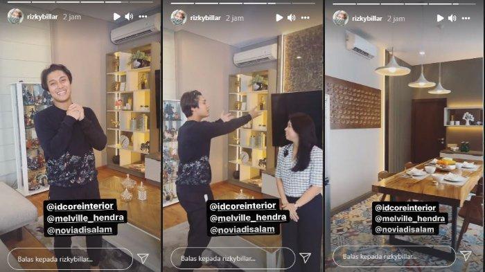 Kolase aktor Rizky Billar saat memamerkan interior baru rumahnya, Kamis (14/10/2021).