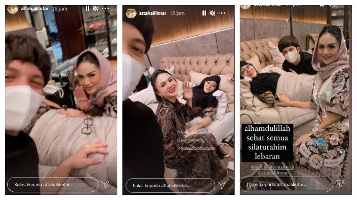 Kolase Atta Halilintar dan Aurel dikunjungi Krisdayanti dan Yuni Shara, Jumat (14/5/2021).