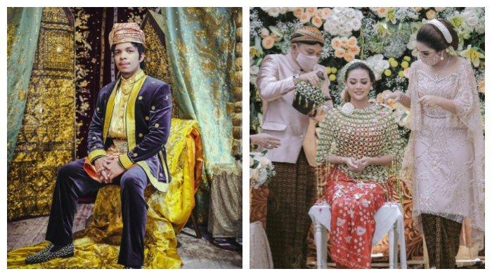 Kolase foto Atta Halilintar mengenakan pakaian adat Padang dan Aurel Hermansyah siraman secara adat Jawa.