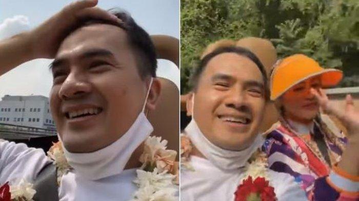 Kolase ekspresi kegembiraan Saipul Jamil setelah terbebas dari penjara akibat kasus pencabulan dan kasus suap, Kamis (2/9/2021).