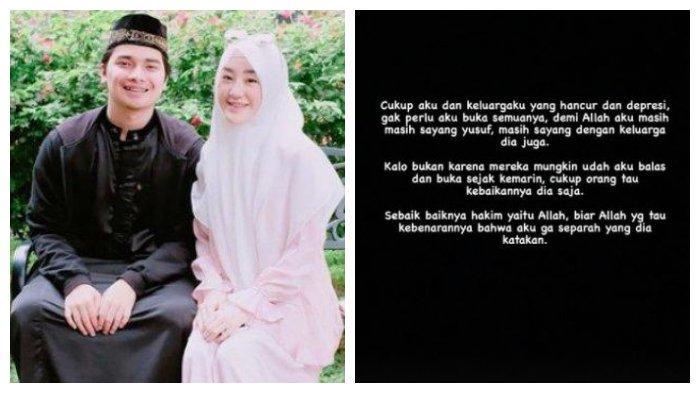Kolase foto Alvin Faiz dan Larissa Chou saat masih bersama dan unggahan Alvin Faiz menanggapi tudingan istrinya, Selasa (1/6/2021).