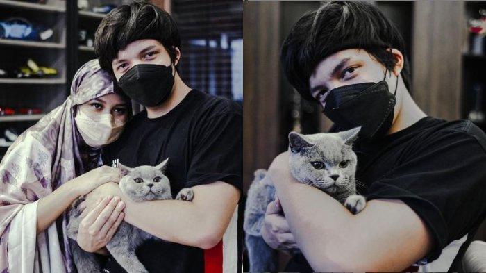 Kolase foto Atta Halilintar dan Aurel Hermansyah bersama kucing mereka, Abu, Rabu (28/8/2021).