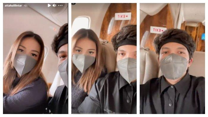 Kolase foto Atta Halilintar dan Aurel Hermansyah di dalam pesawat jet pribadinya, Rabu (7/4/2021).