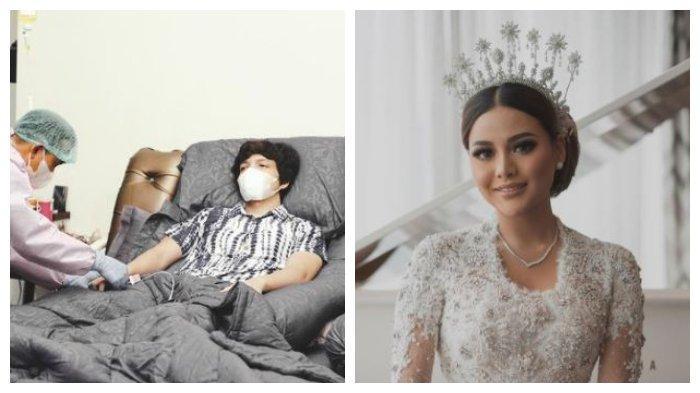 Kolase foto Atta Halilintar yang terbaring karena Covid-19 dan Aurel Hermansyah, Jumat (23/4/2021).