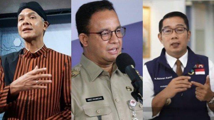 Kolase foto Ganjar Pranowo, Anies Baswedan, dan Ridwan Kamil.
