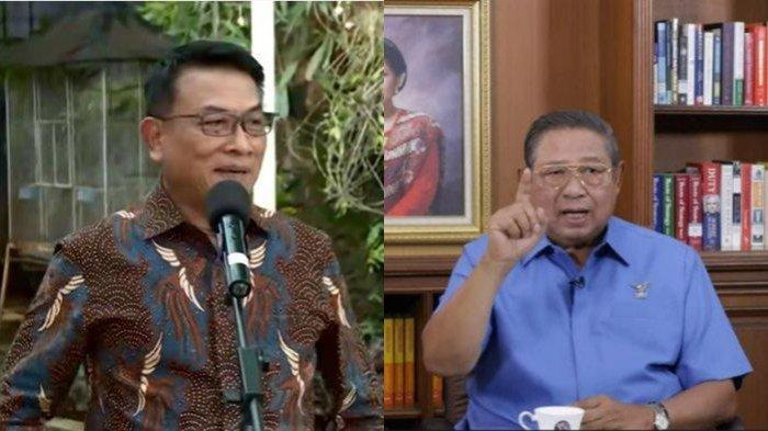 Kolase foto Kepala Staf Presiden (KSP) Moeldoko (kiri) dan Ketua Majelis Tinggi Partai Demokrat Susilo Bambang Yudhoyono (SBY) (kanan).