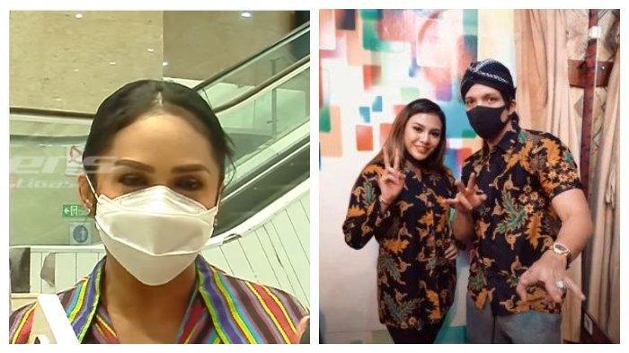 Kolase foto Krisdayanti beserta pasangan Atta Halilintar dan Aurel Hermansyah. Krisdayanti mengaku belum bisa memberi restu perihal rencana pernikahan putrinya, Aurel.