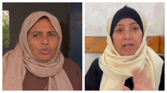 Kolase Hedaya Maarouf (kiri) dan Salwa Al-Attar, pengungsi asal Gaza, Palestina, Sabtu (15/5/2021).