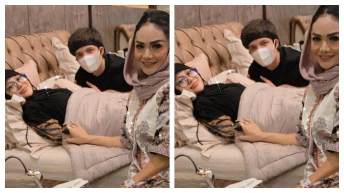 Kolase foto Krisdayanti, Atta Halilintar, dan Aurel Hermansyah yang sedang sakit, Jumat (14/5/2021).