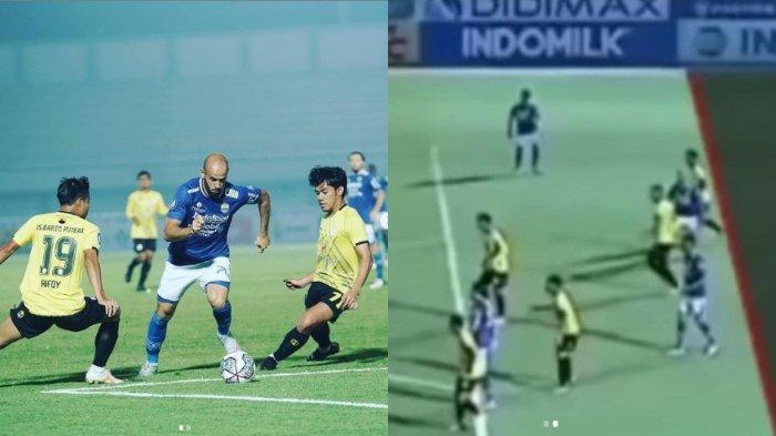 Mohammed Rashid saat berhadapan dengan pemain Barito Putera di lanjutan pekan perdana di Liga 1 2021 dan cuplikan video Mohammed Rashid yang dinilai wasit berada di posisi offside.