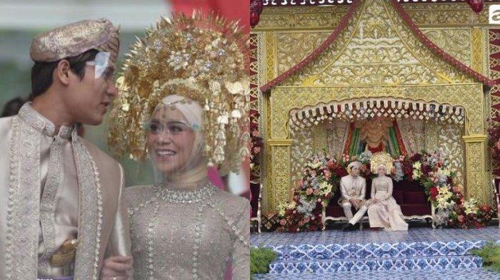 Kolase pasangan Lesti Kejora dan Rizky Billar serta dekorasi acara adat Minang, Manjalang ka Rumah Mintuo, Minggu (5/9/2021).