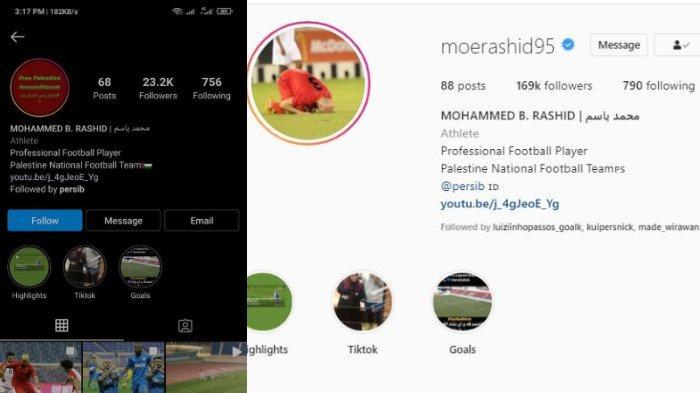Perbandingan followers Instagram Mohammed Rashid sebelum (kiri) dan setelah debut (kanan) di Persib Bandung.