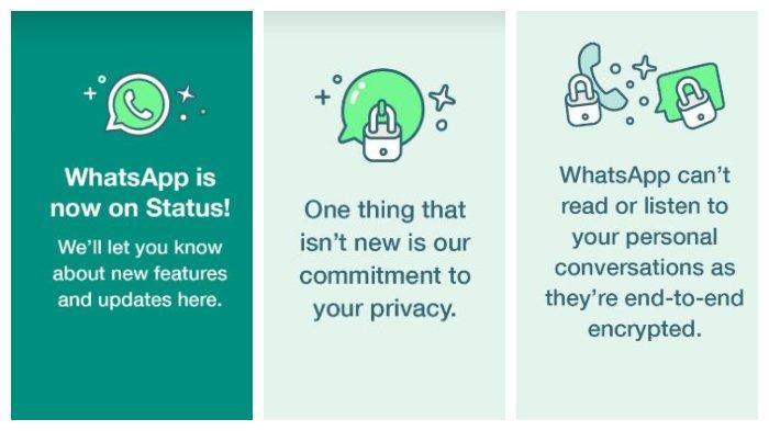 Kolase pesan yang dibagikan Whatsapp melalui fitur baru di status, Jumat (29/1/2021).