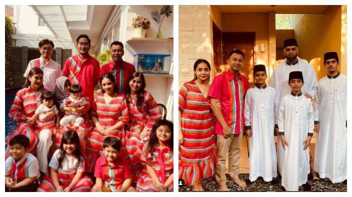 Kolase potret keluarga Raffi Ahmad dan Nagita Slavina yang mengenakan seragam saat Lebaran, Kamis (13/5/2021).