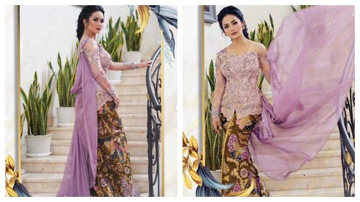 Kolase potret Krisdayanti mengenakan kebaya yang dipakai ke acara lamaran Aurel Hermansyah, Sabtu (13/3/2021).