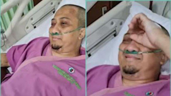 Kolase potret Ustaz Yusuf Mansur saat dirawat di rumah sakit, Kamis (22/7/2021). Ustaz Yusuf Mansur menangis di hadapan istrinya, Siti Maemunah.