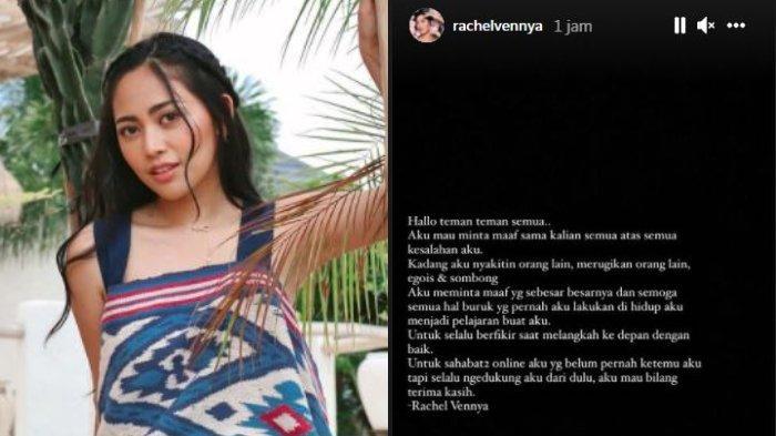 Kolase unggahan potret Rachel Vennya dan permintaan maafnya setelah ramai dituding kabur dari karantina, Kamis (14/10/2021).