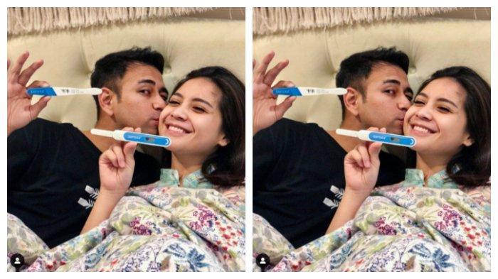 Kolase Raffi Ahmad dan Nagita Slavina pamer test pack, Jumat (16/4/2021). Nagita Slavina akhirnay hamil setalah penantian sekian lama.