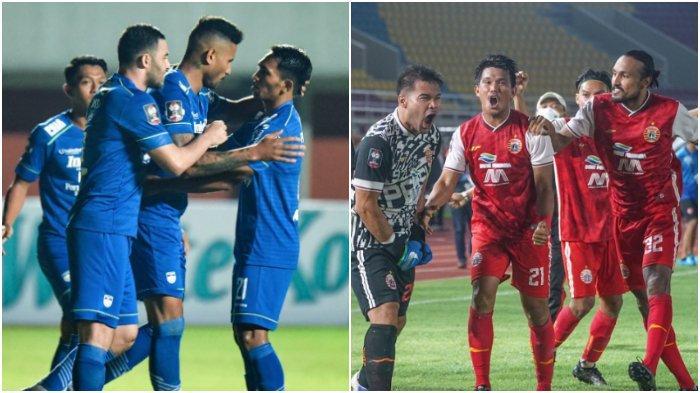 Kolase skuad Persib Bandung (kiri) dan Persija Jakarta (kanan). Keduanya akan bertemu di final Piala Menpora 2021