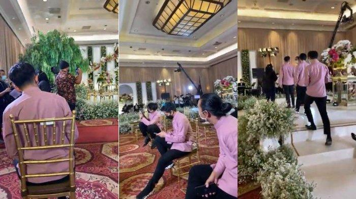 Kolase suasana lamaran Ria Ricis dan Teuku Ryan yang digelar di hotel JW Marriot, Jakarta, Kamis (23/9/2021).