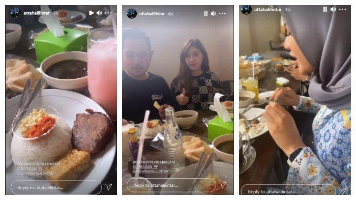 Kolase unggahan InstaStory Atta Halilintar saat mencoba kuliner Rawon di Malang, Jumat (11/6/2021).