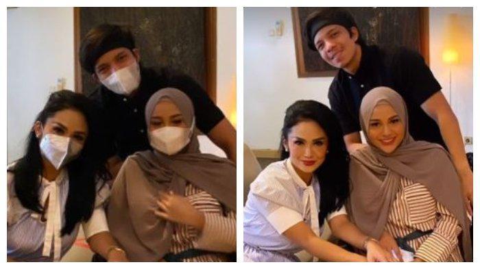 Kolase unggahan Krisdayanti saat berfoto bersama Atta Halilintar dan Aurel Hermansyah, Selasa (18/5/2021).