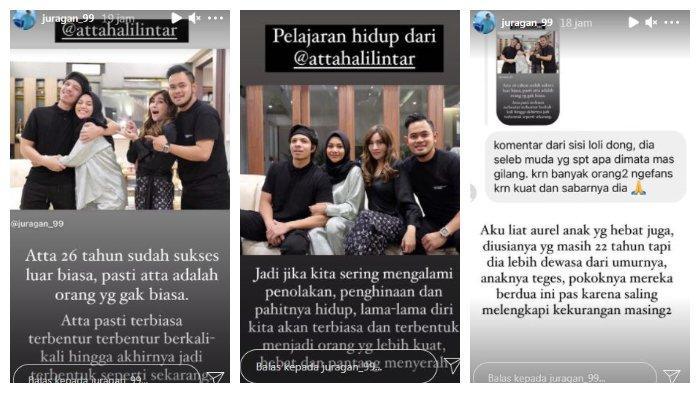 Kolase unggahan pengusaha Gilang Widya Pramana terkait Atta Halilintar dan Aurel Hermansyah, Minggu (30/5/2021).